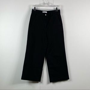 everlane women wide leg crop pants size 8 black